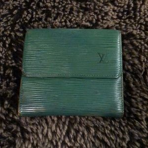 LV green epi leather fold wallet